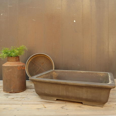 A007 角型盆栽鉢/和鉢 常滑 賢窯 大角鉢55㎝