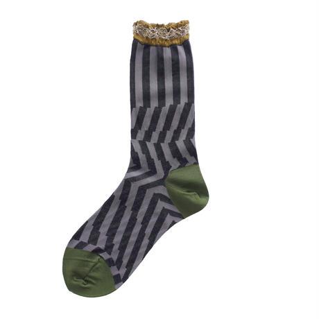 Crumpled stripe socks/ブラック