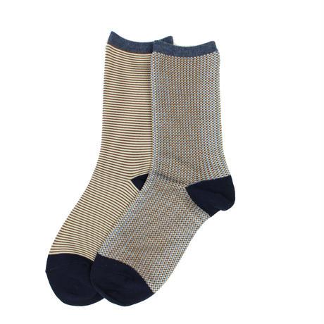 border check socks/ブラウン
