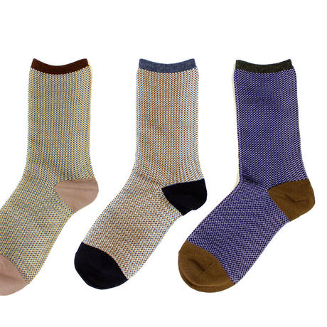 border check socks/ブラック