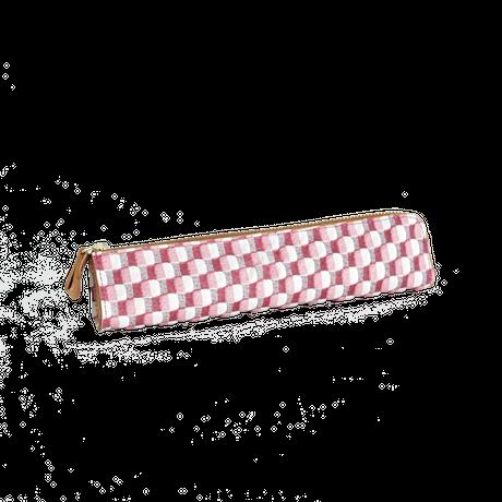 豚革友禅ペンケース / ブロックチェック柄 / ピンク