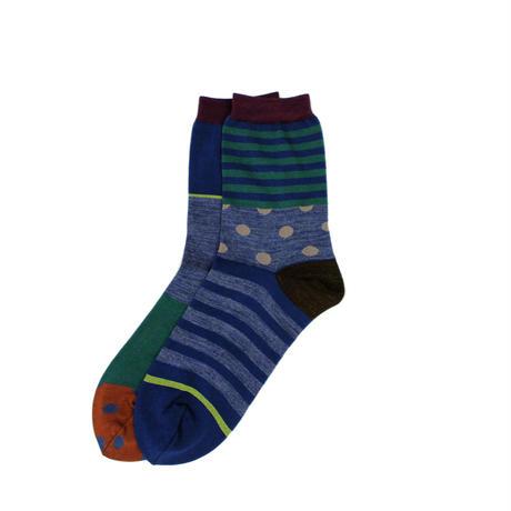 forest border socks/ネイビー