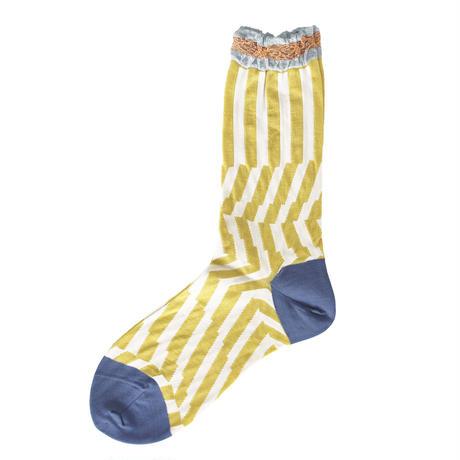 Crumpled stripe socks/イエロー