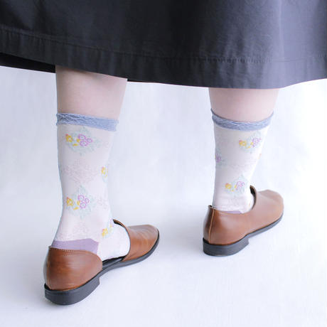 Nature ornament socks/ネイビー