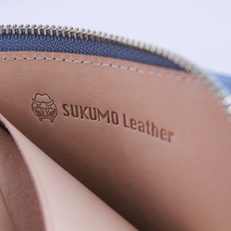 SUKUMO leather zipカードケース/浅葱