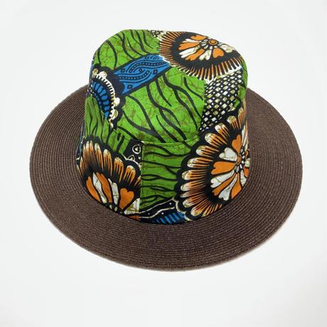 ソフトハット(アフリカ柄ワックスプリント+麻ブレードブリム)L59~60