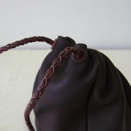 巾着バッグ-MS(Mショート)サイズ・ダークブラウン(DKT-MS-DBR)