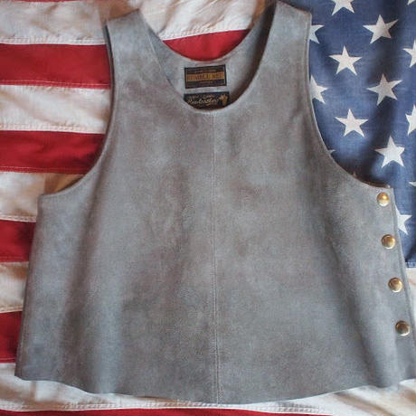 [RUMBLE RED] Suede Side Button Vest (GREY)