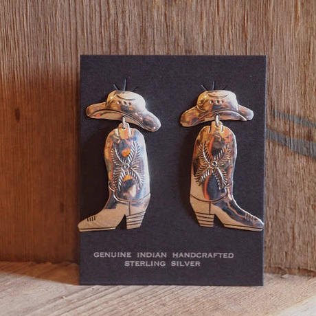 """NAVAJO"" Cowboy Boot Pierced Earrings"