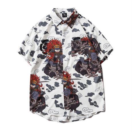 [将軍ネコ]  総柄 グラフィック カジュアル 開襟 アロハ 半袖 シャツ