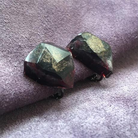 stone イヤリング /  黒