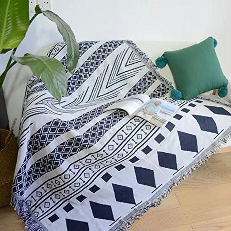 宮廷風 フリンジ付き 綿製品のブランケット 多機能 ソファーのカバー ラグ テーブルクロス テーブル掛け枚 バスマット 毛布 ソファカバー エスニック  B07DFBWRBB