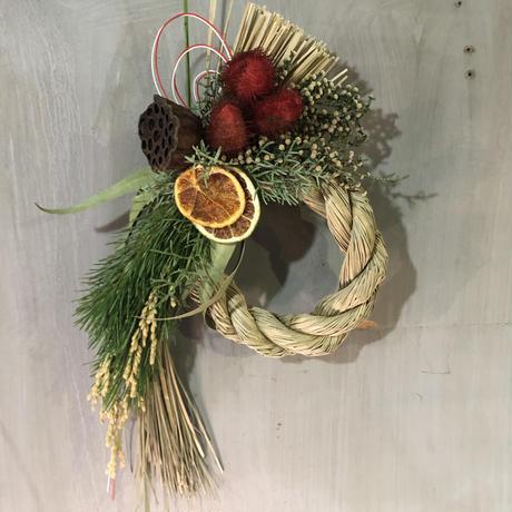 ドライフラワーしめ縄 リース 送料込み wreath  dryflower 2
