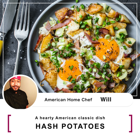 【9/12(Sat) 10:00-11:30】 120% satisfying, hearty staple American  dish HASH POTATOES
