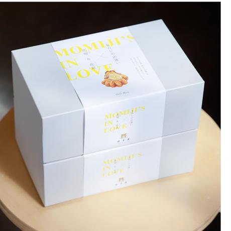 【お歳暮】もみじの出逢いギフトボックス  +宮島杓子BIWA+博多屋正月記念ハガキセット
