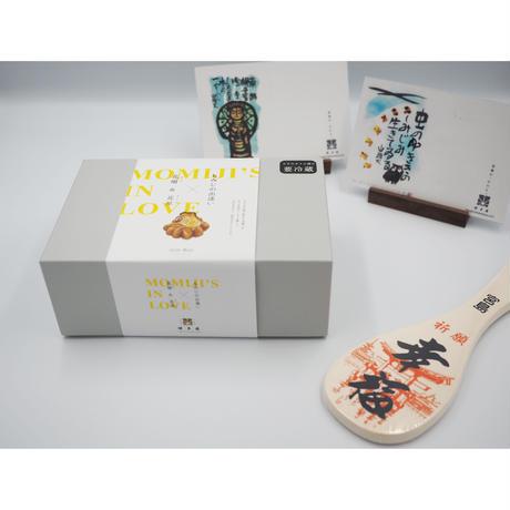 【お歳暮】もみじの出逢いギフトボックス  +祈願杓子(幸福)+博多屋正月記念ハガキセット