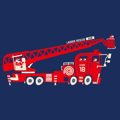 神戸市消防局コラボおとなTシャツ ブルー (はしご車)