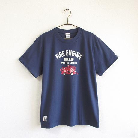 神戸市消防局コラボおとなTシャツ ブルー (消防車)