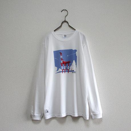 おとな長袖Tシャツ ホワイト(ガントリークレーン)