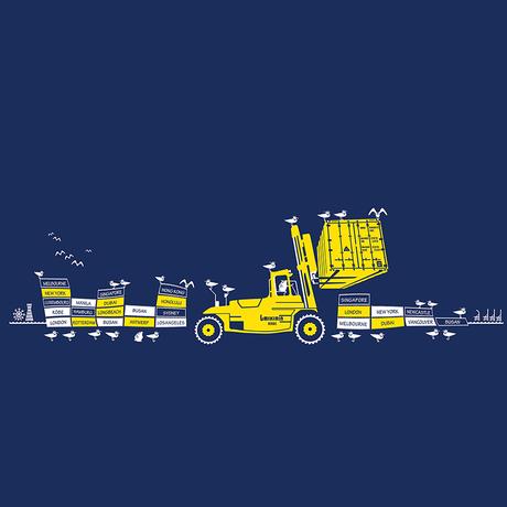 おとな長袖Tシャツ ブルー (フォークリフト)