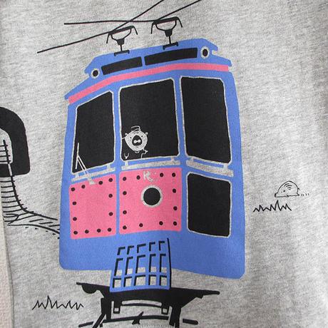 こども長袖Tシャツ 杢グレー(六甲ケーブルカー)