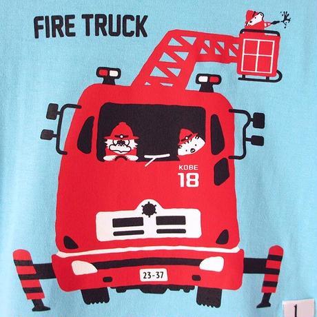 神戸市消防局コラボこどもTシャツ アクアブルー (はしご車)