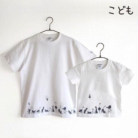 カフェクロトコラボ こども半袖Tシャツ ホワイト (クロトの猫達)