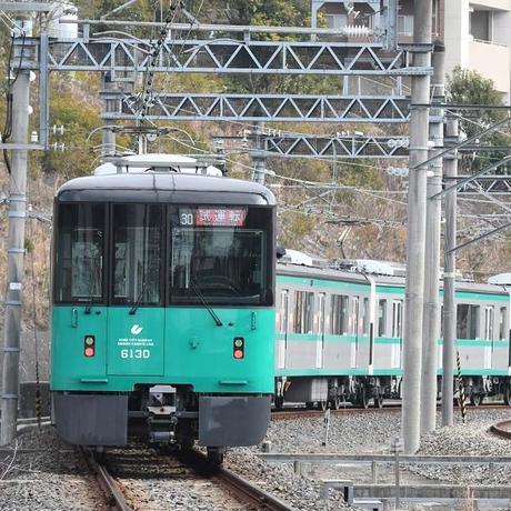 神戸市交通局コラボおとなTシャツ ブルー (地下鉄西神・山手線)