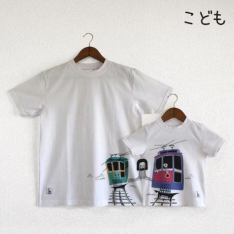 こどもTシャツ ホワイト(六甲ケーブルカー)