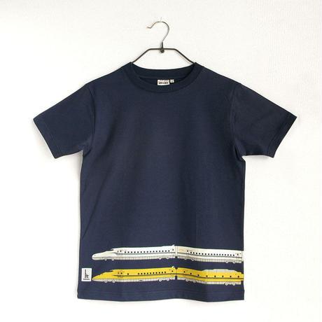 おとなTシャツ ブルー(新幹線N700S&ドクターイエロー)