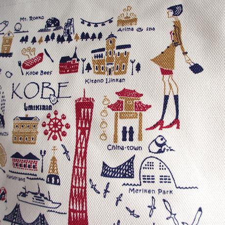 ジップミニトートバッグ(高島帆布)オフホワイト(旅するマチルダ:神戸)