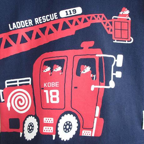 神戸市消防局コラボこども長袖Tシャツ ブルー (はしご車)