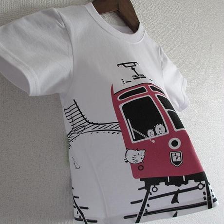 こどもTシャツ ホワイト(摩耶山のレトロケーブルカー)