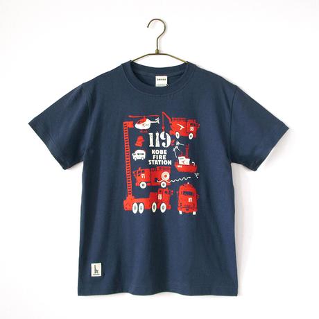 神戸市消防局コラボおとなTシャツ ブルー (消防車両)