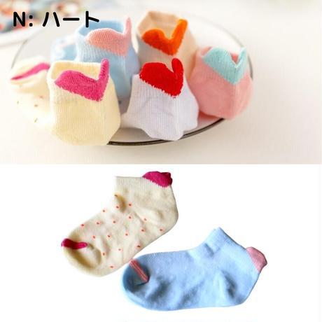 ハート Socks 5足セット 14-16/ 16-18/ 18-22cm
