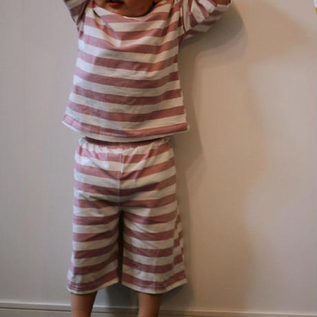 ストライプ半袖パジャマ Stripe Pajama ダスティピンク 100~120cm