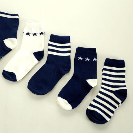 Navy Socks 5足セット 16-18cm/ 18-22cm