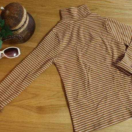 Strech High-neck T shirt Yellow Brown X White 100cm 1枚のみ
