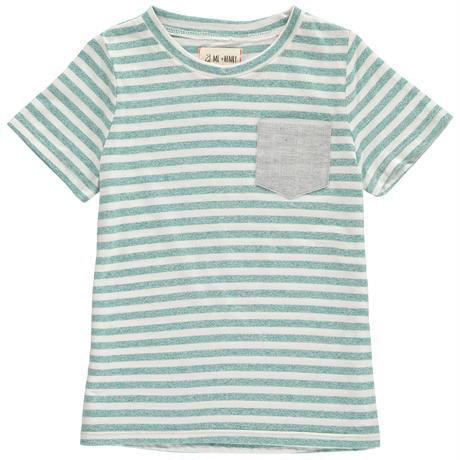 Me & Henry ストライプポケット Tシャツ Green 98cm/ 104cm/ 110cm/ 116cm/ 122cm/ 132cm/ 135cm