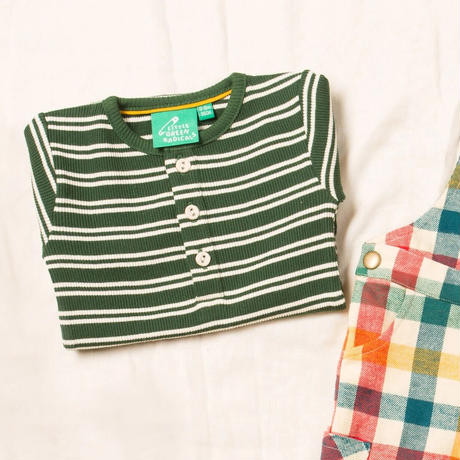 Little Green Radicals リブ ストライプTシャツ グリーン 92/ 98/ 104/ 110/ 116/ 122/ 128cm