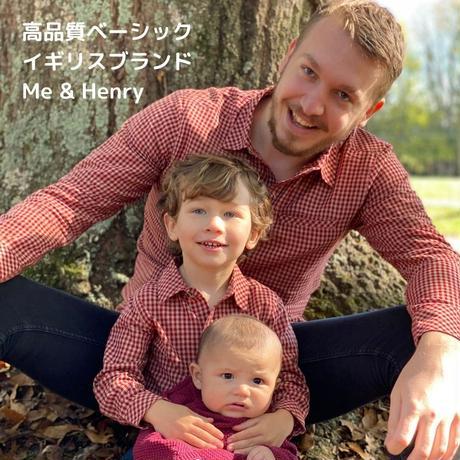 Me & Henry チェック長袖シャツ ブルー 大人用メンズ S/ M