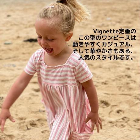 Vignette STRIPE キッズワンピース ピンク 92/ 98/ 104/ 110/ 116/ 122/ 128/ 140/ 146-152cm