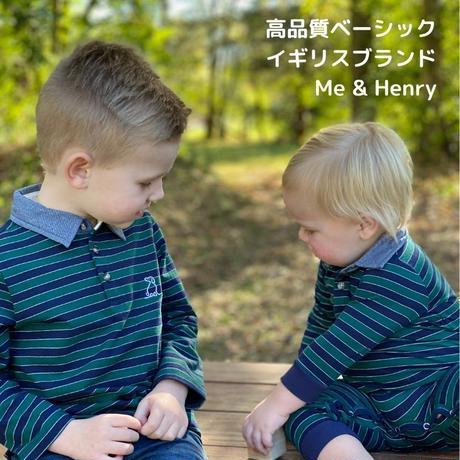 Me & Henry ストライプポロシャツ長袖 グリーン 116 /122 /128 /134 /140  /146-152cm