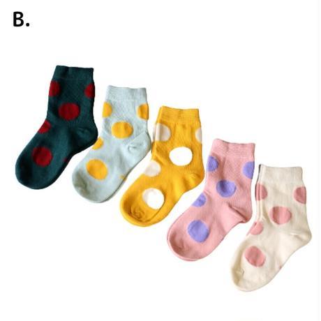 POP水玉 Socks 5足セット 15-18/ 18-20/ 20-22cm