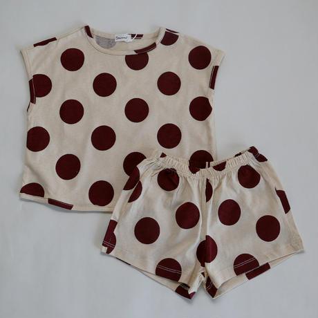 水玉パジャマ Dark Red Dot 90~120cm