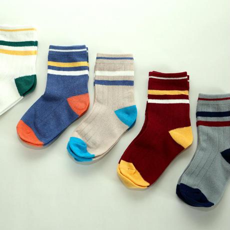 Color Pattern Socks 5足セット 16-20cm/ 18-22cm/ 20-24cm