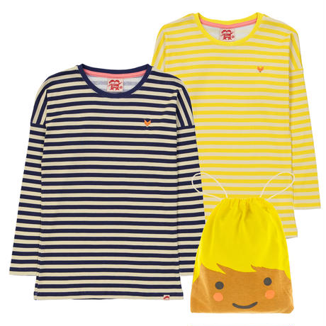 Tootsa Essential Striped T 長袖2枚セット Sun & Navy 80/ 86/ 92/ 98/ 104/ 110/ 116/ 125cm