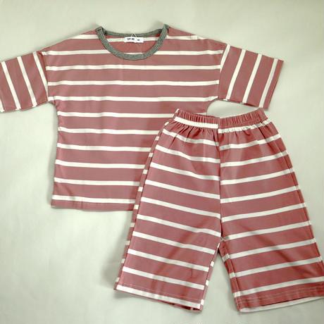 ストライプ半袖パジャマ Pink 100~120cm
