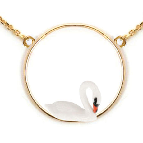 White swan round necklace Nach