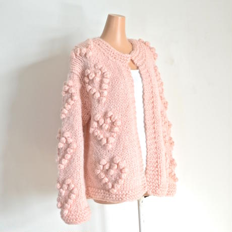 Heart ponpon knit cardigan Pink  CARE OF YOU